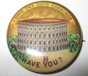 1900s Pin Button Gave One Days Earnings Have You? Coliseum Celluloid Church?