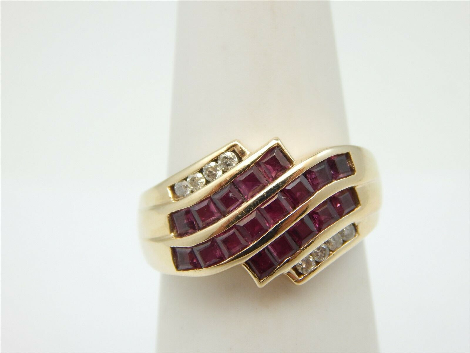 14K YELLOW gold 1.25 TCW PRINCESS CUT PINK SPINEL CROSS OVER RING DIAMOND ACCENT