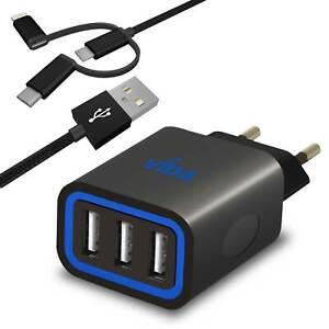 Voyage-Prise-Chargeur-Mural-Rapide-Secteur-3-Port-USB-avec-Type-C-iPhone-Cable