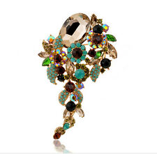 Luxury Vintage Style Gold & Green Water drop Brooch Pin BR290