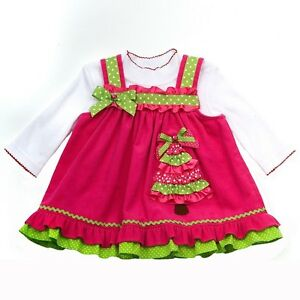 Toddler girls 2t 4t pink green christmas tree jumper dress outfit