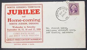 North-Judson-Jubilee-US-Adv-Envelope-Washington-Stamp-3c-1938-USA-Brief-H-10980