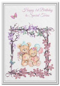 Image Is Loading Twins 1st Birthday Card First 1 Year Girl