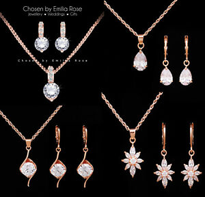 Image Is Loading 18k Rose Gold Bridal Bridesmaid Necklace Earrings Jewellery