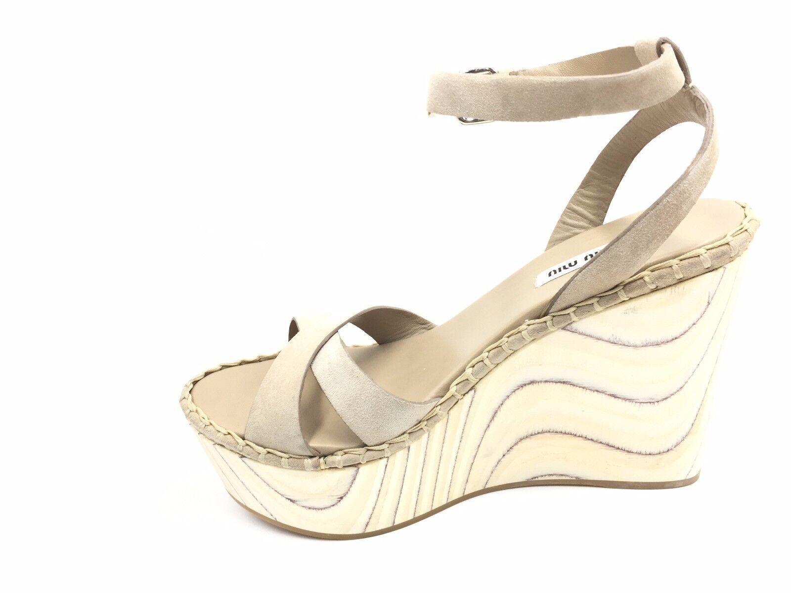 Zapatos De Tacón Alto Alto Alto  2250 Miu Miu Mujer Sandalias De Gamuza Color Beige al Tobillo Zapatos de cuña 38.5 8.5  ventas al por mayor