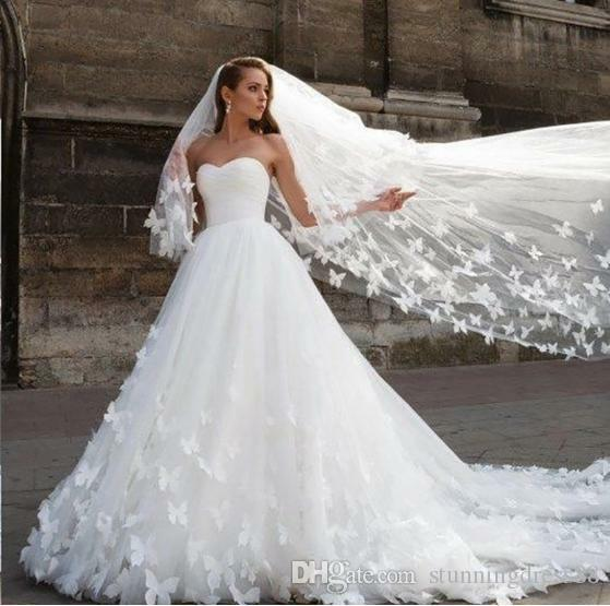 Romantic Butterfly Applique Wedding Dresses Sweet White/Ivory Tulle Bridal Gown