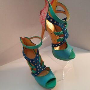 Republic-LA-Womens-Strappy-Open-Toe-Pump-Ankle-Heels-Shoes-Size-7-5-Many-Colors