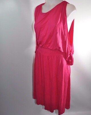 Lane Bryant Cold Shoulder 3//4 Sleeve Tassel Smocked Waist Knee Dress Pink NWT