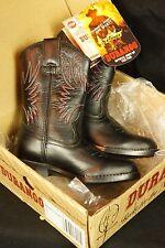 Authentic DURANGO COWBOY BOOTS- Kids 8.5 D- LEATHER Black Red BT220 Boys Childs