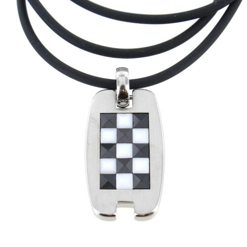 Racing Checker Class Insert Black and White Solid Stainless Steel Mens Pendant