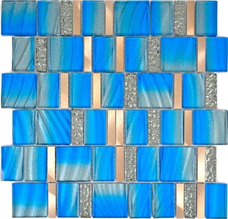 Aluminium Mosaik Glasmosaik blau kupfer Wand Küche Bad Sauna 88-0004  10Matten