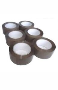 LOT-DE-12-ROULEAUX-Ruban-Adhesif-Emballage-scotch-MARRON-ADHESIF-50-x-66-metre