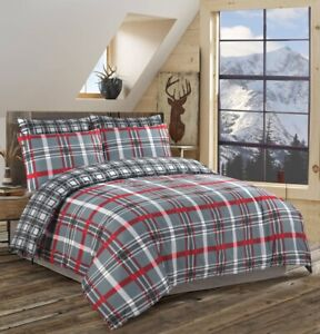 Red-Check-Reversible-Duvet-Cover-Bedding-Set-100-Cotton-Double-Super-King-Size