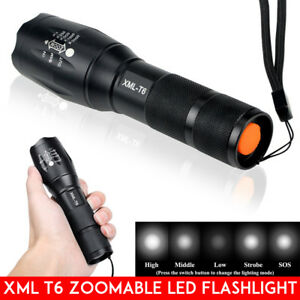 Tactical 50000LM Q5 LED Flashlight Zoomable Mini Torches Light Lamp AA 14500 UK