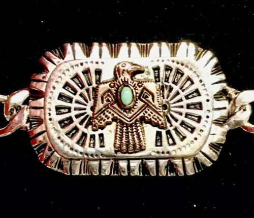 1940s-50s Mexican Biker Native Thunderbird Turquoise Adjustable Unisex Bracelet