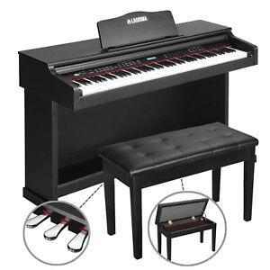 88 key lcd digital electric piano keyboard w bench 3 pedal board cover adaptor 619960969519 ebay. Black Bedroom Furniture Sets. Home Design Ideas