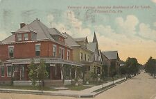Crescent Avenue and Dr Lamb's Residence in Ellwood City PA 1916