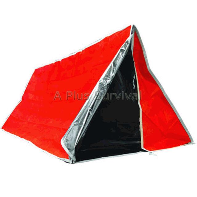 Orange & Silver Mylar Solar Tube Tent - Emergency Survival Camping Shelter Tarp
