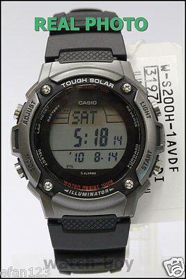 W-S200H-1A Digital Original Casio Watch Solar Power Stopwatch Lap Memory 120 New