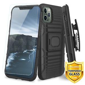 For Apple iPhone 11, Pro, Max, Magnetic Case TJS Jupiter Holster+Tempered Glass