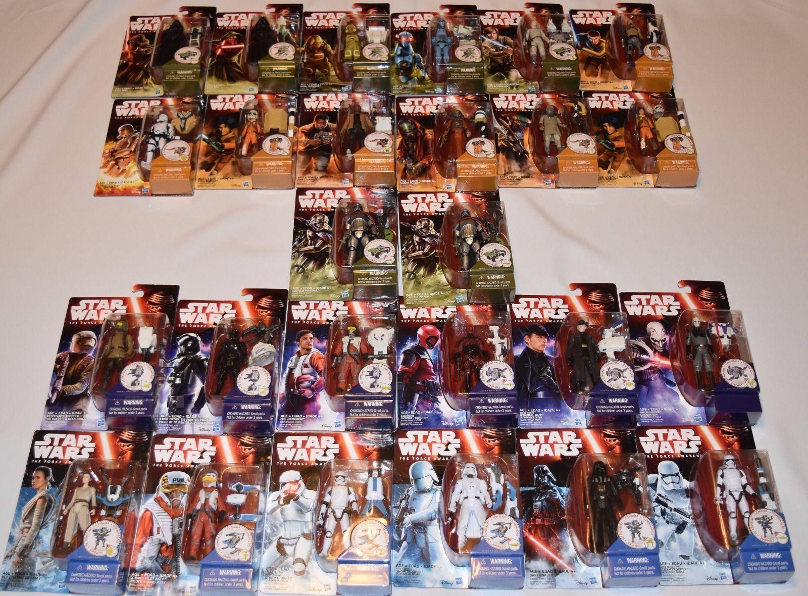 Star Wars Force Réveille 3 3 4 3.75 complet Master Set 26 figures avec variantes