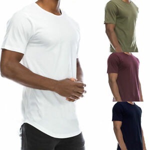 Mens-Plain-Short-Sleeve-T-Shirt-Slim-Fit-Longline-Loose-Crew-Neck-Casual-Tops