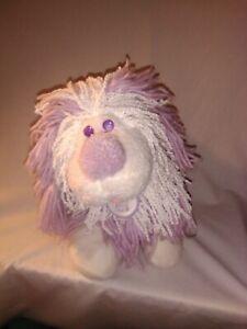 14-034-Disney-1986-Kenner-Fluppy-Dogs-Purple-White-Plush-Yarn-Collar-Vintage-Toy