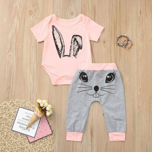 2PC Toddler Baby Girl Cartoon Cotton Rabbit Tops Print Rompers Pants Clothes Set