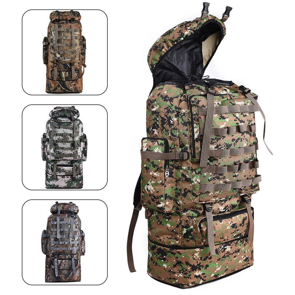 100L Outdoor Waterproof Tactical Camping Backpack Hiking Camping Camo ... - s l1600