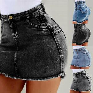 Mode-Femmes-Stretch-Jupe-Crayon-Taille-Haute-Jeans-Denim-Moulante-Jupe