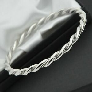 Vintage-Solid-925-Sterling-Silver-Twist-Rope-Design-Bangle-Bracelet