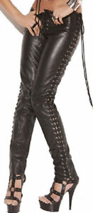 stylish design for whole family 50% off Details about Black Leather Pants Lace-up Sides & Front to Back Biker S-3X  Plus Sizes L9119