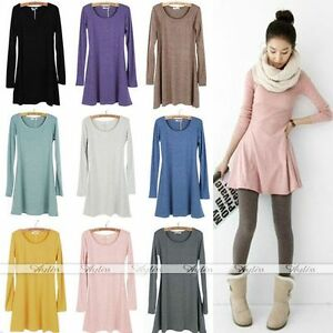 Fashion-Ladies-Style-Women-Solid-Plain-Soft-Long-Sleeve-Mini-Dress-Skirts-Hot