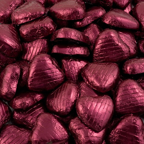 500g Bag Approx 100 BURGUNDY Chocolate Foiled Hearts Luxury Wedding Favours