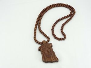 Details About Carved Wooden Jesus Face Pendant Brown Good Wood Style 36 Chain Necklace