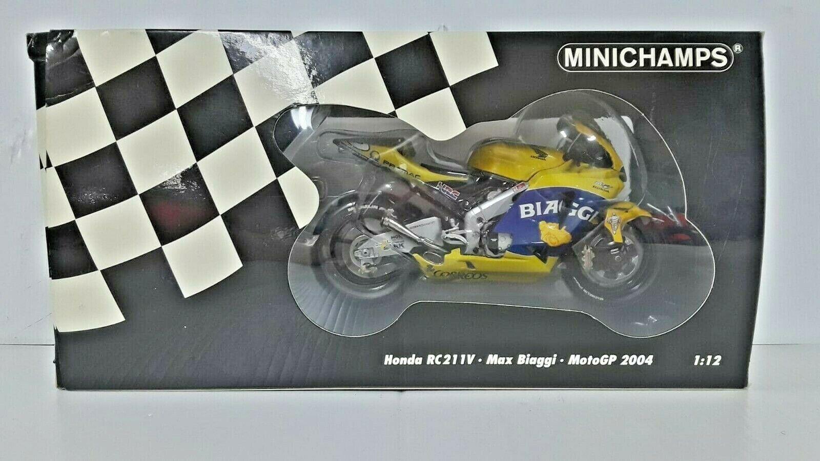 Vintage Minichamps Honda RC211V Max Biaggi grand prix moto 2004 1 12 CAMEL RACING