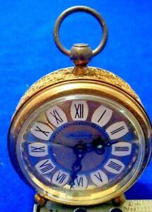 "Vintage Blessing Windup Alarm Clock West Germany Gold Filigree Casing 2.5"""