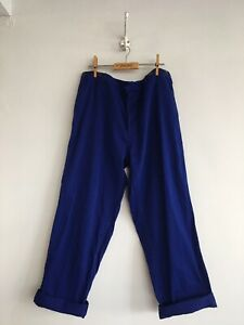 True-Vintage-Blue-Chinese-Cotton-Chore-Workwear-Trousers-Pants-W36-L