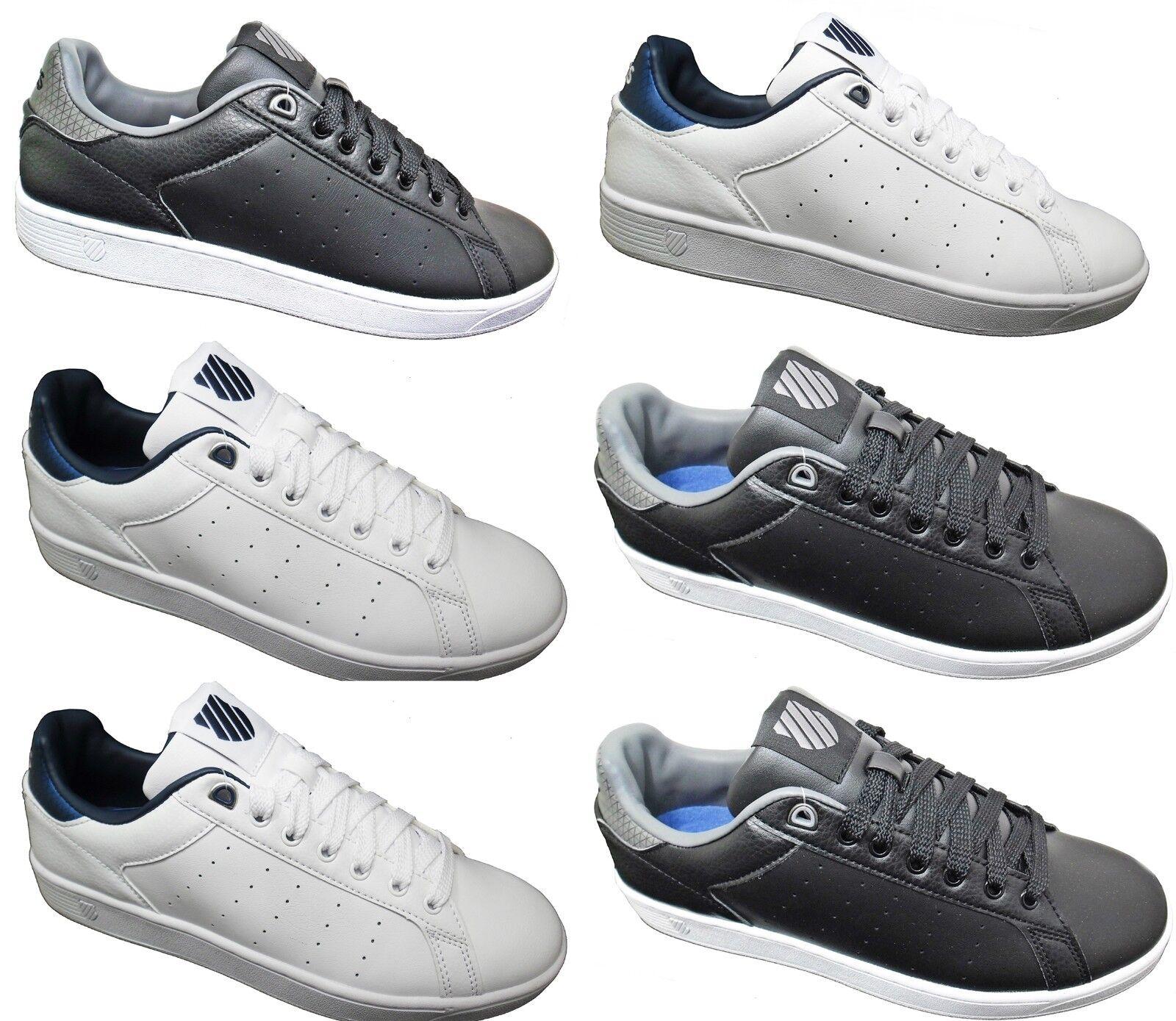 Nuevas zapatillas para hombre K-Swiss de Cuero Retro Venta Tribunal Zapatos Blanco Negro Tamaño 7-12
