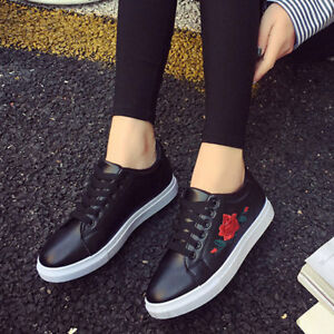 1eb4e881d30 Details about Endearing Flat Shoes Spring Rose Embroidery Creepers Platform Girls  Casual Shoes