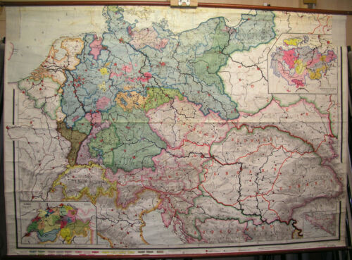 vintage wall chart map card 1 Stab für Schulwandkarte Wandbild siehe see shop