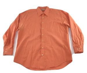 Peter-Millar-Mens-XL-Light-Orange-Dress-Shirt-L-S-Button-Down