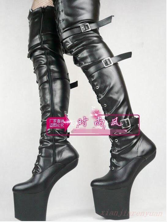Hot Hot Hot femmes High Platform Club Pole Dance Over Knee High bottes Horse Heel PU chaussures 0467ab