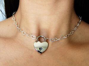 925 Sterling Silver Chain Locking BDSM Slave Bondage Day Collar