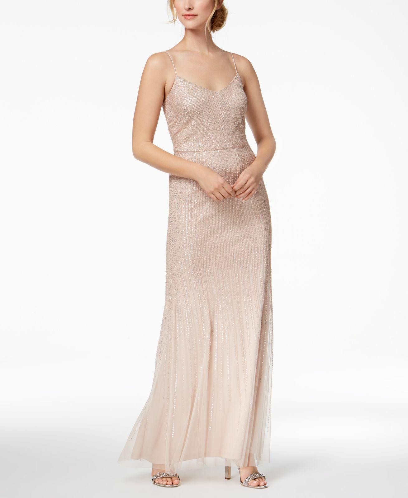 ADRIANNA PAPELL damen Rosa EMBELLISHED SLEEVELESS GOWN FORMAL DRESS Größe 12