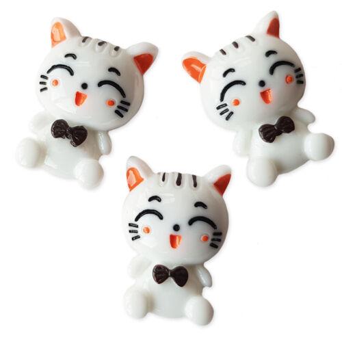 3pcs Lucky Cats Resin Kawaii Flatback Cabochons Embellishment Decoden Craft