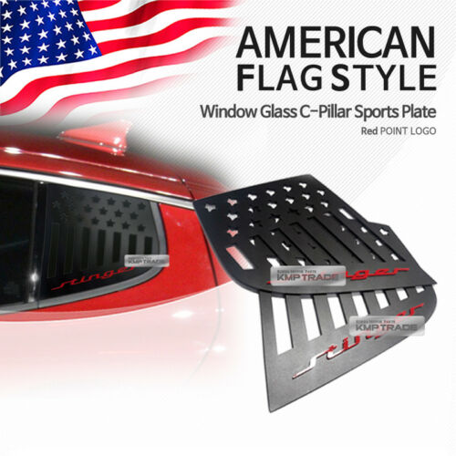 C Pillar Red Logo American Flag Window Sports Plate for KIA 2017-2019 Stinger