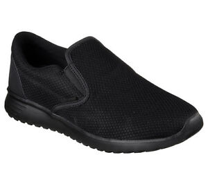 Skechers-Black-Shoes-Men-Memory-Foam-Comfort-Slip-On-Casual-Mesh-Sneaker-52730