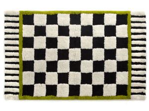 Mackenzie-Childs-COURTLY-CHECK-Black-White-BATH-RUG-LARGE-30-034-X48-034-NEW-m19-2