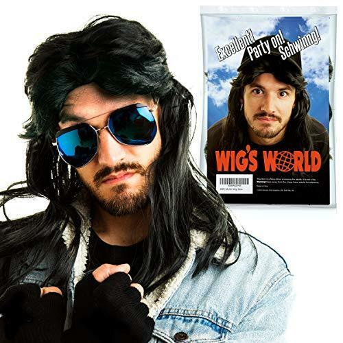 AWS Mullet Wig Black Fancy Dress Long Wig for Waynes World Pulp Fiction or